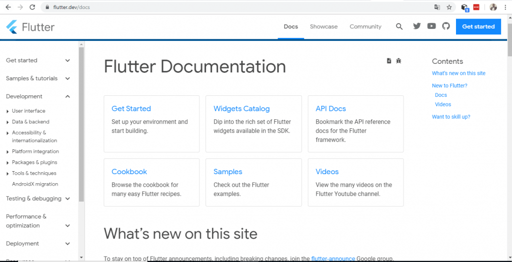 Flutter documentation