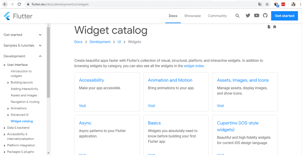 Flutter Widget Catalog